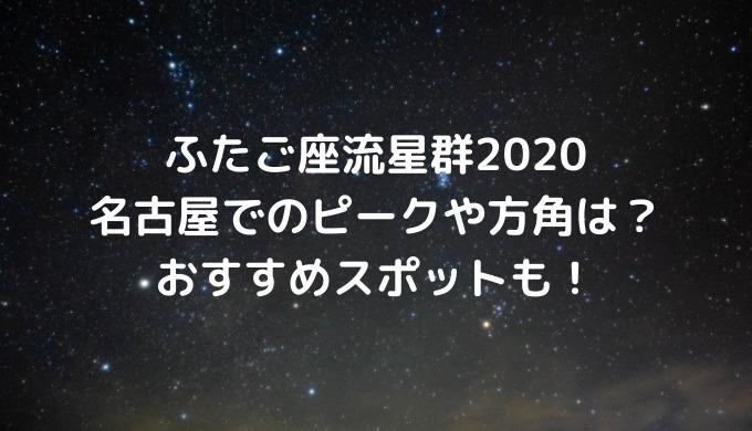 ふたご座流星群2020名古屋でのピークや方角は?おすすめスポットも!